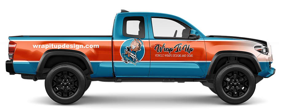 vinyl half wrapped truck design