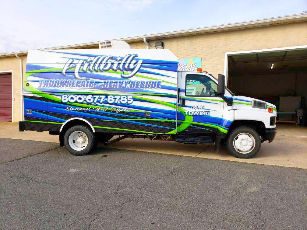 hillbilly truck repair vinyl wrapped truck side 2