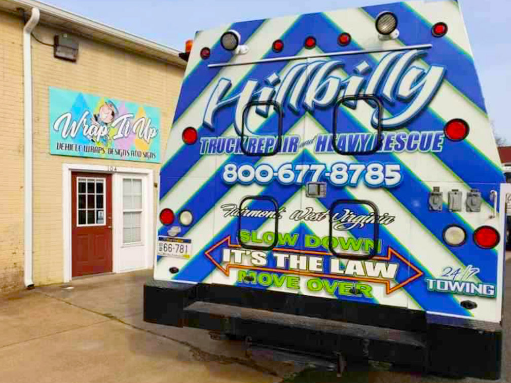 hillbilly truck repair vinyl wrapped truck side 3