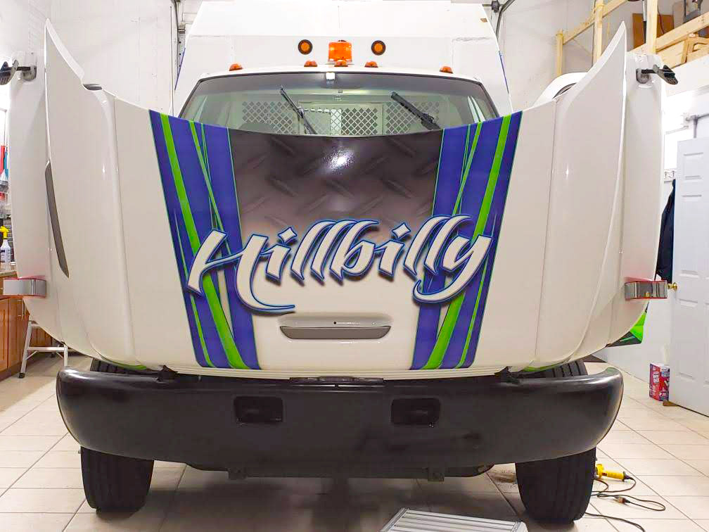 hillbilly truck repair vinyl wrapped truck side 4