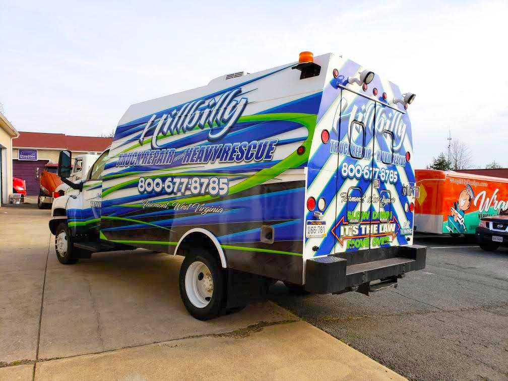 hillbilly truck repair vinyl wrapped truck side 5
